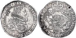 """Brabant, Dukaton, 1636, Philipp IV., Delm. 274, Sammlerpunze """"UCO"""" Auf Dem Avers, Schrötlingsfehler, Ss.  Ss - Belgien"""