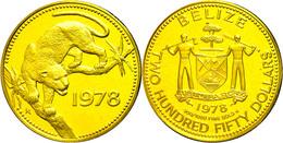 250 Dollars, Gold, 1978, Jaguar, In Folder, Fb. 40, KM 56, PP.  PP - Belize