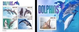 Sierra Leone 2019, Animals, Dolphins, 4val In BF +BF - Dauphins