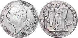 Ecu De 6 Livres, 1792, Louis XVI., Rouen, Dav. 1335, Schrötlingsfehler, Randfehler, Ss.  Ss - France