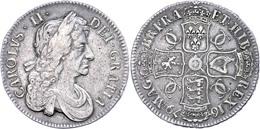 Crown, 1679, Charles II., Dav. 3776, Randfehler, Ss.  Ss - Ohne Zuordnung