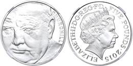 5 Pounds, 2015, 50. Todestag Churchill, In Slab Der NGC Mit Der Bewertung PF 70 Ultra Cameo, Big Ben Label. - Ohne Zuordnung