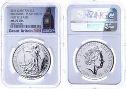 2 Pounds, 2016, Britannia, In Slab Der NGC Mit Der Bewertung MS70 DPL, First Releases, Big Ben Label. - Ohne Zuordnung