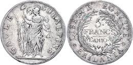 Subalpine Republik, 5 Francs, L'AN 10 (1801), Turin, Dav. 197, Pagani 6, Randfehler, Ss.  Ss - Italien