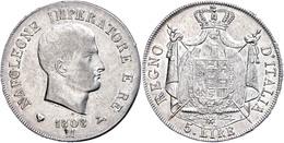 5 Lire, 1808, Mailand, Napoleon, Dav. 202, F. Vz. - Italien