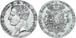 Neapel, 1808, Piastra (120 Grana), 1808, Joseph Bonaparte, Dav. 165, Kl. Zainende, Grünspan, Ss.  Ss - Italien