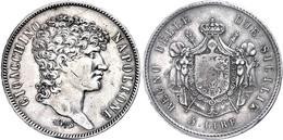 Neapel, 5 Lire, 1813, Joachim Murat, Dav. 167, Pagani 58, Kl. Rf., Avers Leicht Berieben, Ss.  Ss - Italien