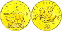 50 Euro, Gold, 2006, Europäische Kunst-4. Ausgabe, 14,51 G Fein, Fb. 1554, In Kapsel, In Ausgabeschatulle Des Ministero  - Italien