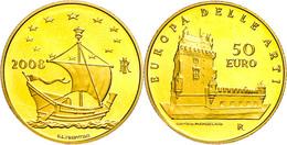 50 Euro, Gold, 2008, Europäische Kunst-6. Ausgabe, 14,51 G Fein, Fb. 1561, In Kapsel, In Ausgabeschatulle Des Ministero  - Italien