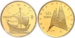 50 Euro, Gold, 2009, Europäische Kunst-7. Ausgabe, 14,51 G Fein, KM 322, In Kapsel, In Ausgabeschatulle Des Ministero De - Italien
