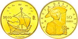 50 Euro, Gold, 2010, Europäische Kunst-8. Ausgabe, 14,51 G Fein, KM 336, In Kapsel, In Ausgabeschatulle Des Ministero De - Italien