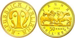 50 Euro, Gold, 2012, Fauna In Der Italienischen Kunst-2. Ausgabe-Mittelalter, 14,51 G Fein, KM 351, In Kapsel, In Ausgab - Italien