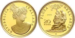 20 Euro, Gold, 2015, Flora In Der Italienischen Kunst-5. Ausgabe-Klassizismus, 5,8 G Fein, KM 381, In Kapsel, In Ausgabe - Italien