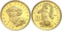 20 Euro, Gold, 2016, Flora In Der Italienischen Kunst-6. Ausgabe-Jugendstil, 5,8 G Fein, KM 391, In Kapsel, In Ausgabesc - Italien