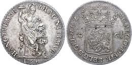 Gelderland, 3 Gulden, 1764, Delm. 1145, Dav. 1849, Ss.  Ss - Niederlande