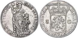 Holland, 3 Gulden, 1764, Dav. 1850, Delm 1146, Kl. Schrötlingsfehler, Ss-vz.  Ss-vz - Niederlande