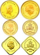 Antillen, Lot Zu 50, 100 Und 300 Gulden, Gold, 1979, 1978 Und 1980, Jeweils PP.  PP - Niederlande