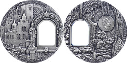 2 Dollars, 2012, Crystal Art - Secrets Of Lichtenstein, 2 Unze Silber, Oxidiert, Etui Mit OVP Und Zertifikat, St. Auflag - Niue