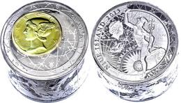 50 Dollars, 2013, Fortuna Redux Mercury 3D, Zylinder Form, 6 Unzen Silber, Teilvergoldet, Schatulle Mit OVP Und Zertifik - Niue
