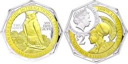 2 Dollars, 2015, Panama Pacific Int. Exposition, 2 Unzen Silber, Teilvergoldet, In Slab Der NGC Mit Der Bewertung PF70 U - Niue