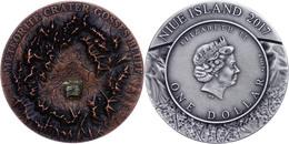 1 Dollar, 2017, Meteoriten - Gosses Bluff Crater - Mit Henbury Meteorit, 1 Unze Silber, Antik Finish, Etui Mit OVP Und Z - Niue