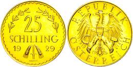 25 Schilling, Gold, 1929, Fb. 521, Gereinigt, Vz-st.  Vz-st - Oesterreich