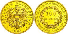 100 Kronen, Gold, 1923, Fb. 518, Kl. Kr. Und Rf., Gereinigt, Vz. Auflage Nur 617 Stück!  Vz - Oesterreich