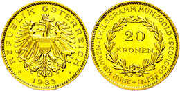 20 Kronen, Gold, 1923, Fb. 519, Gereinigt, Vz.  Vz - Oesterreich