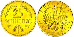 25 Schilling, Gold, 1927, Fb. 521, Kl. Kr., F. St.  Vz-st - Oesterreich
