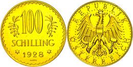 100 Schilling, Gold, 1928, Fb. 520, Gereinigt, Vz-st.  Vz-st - Oesterreich