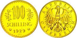 100 Schilling, Gold, 1929, Fb. 520, Gereinigt, Kl. Kr., Vz-st.  Vz-st - Oesterreich