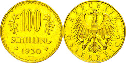 100 Schilling, Gold, 1930, Fb. 520, Gereinigt, Vz.  Vz - Oesterreich