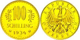100 Schilling, Gold, 1934, Fb. 520, Gereinigt, Vz.  Vz - Oesterreich