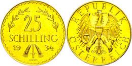 25 Schilling, Gold, 1934, Fb. 521, Gereinigt, Leicht Berieben, Vz.  Vz - Oesterreich