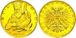 25 Schilling, Gold, 1935, Fb. 524, Etwas Gereinigt, Vz-st.  Vz-st - Oesterreich