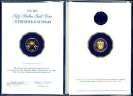 50 Balboas, Gold, 1982, 5,37g 500er Gold, Im Folder, PP.  PP - Panama