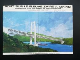PONT SUR LE FLEUVE ZAÏRE À MATADI VIEUX DÉPLIANT PRÉSENTATION DU PONT + LOT 6 PHOTOS COULEURS TOURISTE GUIDE JAPONAIS - Obj. 'Souvenir De'