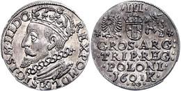 3 Groschen, 1601, Sigismund III. Wasa, Büste Nach Links, F. St. - Polen