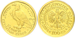 100 Zlotych Gold, 2004, Goldbarrenmünze Adler, 1/4 Oz, KM 293, Auf Coin Card Der National Bank Of Poland, St.  St - Polen
