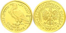 200 Zlotych Gold, 2004, Goldbarrenmünze Adler, 1 1/2 Oz, KM 294, Auf Coin Card Der National Bank Of Poland, St.  St - Polen
