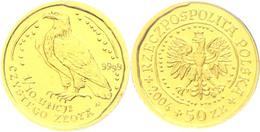 50 Zlotych Gold, 2004, Goldbarrenmünze Adler, 1/4 Oz, KM 292, Auf Coin Card Der National Bank Of Poland, St.  St - Polen