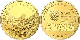 200 Zlotych Gold, 2005, 25 Jahre Gewerkschaft Solidarnosc, 13,95 G Fein, Fb. 206, In Kapsel, Mit Zertifikat, PP. Auflage - Polen