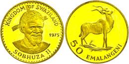 Swasiland, 50 Emalangeni, Gold, 1975, Antilope, Fb. 7, KM 26, Fingerabdrücke, PP.  PP - Südafrika