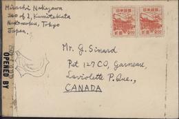 YT 380 B Japon Pour Canada Bande Censure USA Opened By Mil Cen Civil Mails + Cachet CODJ 4057 Occupation Japon - 1926-89 Empereur Hirohito (Ere Showa)