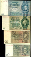 Weimarer Republik/Drittes Reich, 10, 20, 50 Und 100 Reichsmark, Ro. DEU-183, 184, 210 Und 211 (173-176), 10 Reichsmark S - 1871-1918: Deutsches Kaiserreich