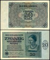 Inflation 1919-1924, 20 Billionen Mark, Reichsbanknote, 5.2.1924, Serie A 7284075, Ro. 135, Erhaltung II., Katalog: Ro.1 - 1871-1918: Deutsches Kaiserreich