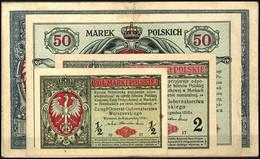 Generalgouvernement Warschau, 1/2 Marki, 2 Marki, 50 Marek Und 2x 100 Marek Darlehenskassenscheine, Ro. 445, 446, 449, 4 - 1871-1918: Deutsches Kaiserreich