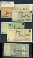 Ausgaben Jüdischer Gettos, Litzmannstadt 1940, 50 Pfennig, 1, 2, 5, 10, 20 Und 50 Mark, Insgesamt 7x Scheine, Ro. GET-1, - Ohne Zuordnung
