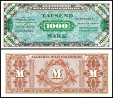 """1000 Mark, Besatzungsgeld, 1944, US-Druck Mit Geheimzeichen """"F"""", KN 003598943, Ro. 207 A, Erhaltung I., Katalog: Ro.207a - Besatzungsgebiete In Deutschland"""