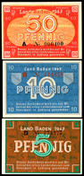 Baden, Staatsschuldenverwaltung, 1947, 5, 10 Und 50 Pfennig, Ro. 208 B, 209d Und 210, 50 Pfennig Mit Kleinem Einriss Obe - Besatzungsgebiete In Deutschland